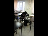 привязала Ксюшу к стулу)))